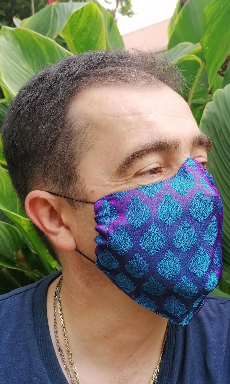 Unisex Seiden Maske violett- blau