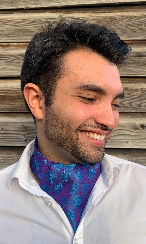 Krawattenschal lila - helles blau