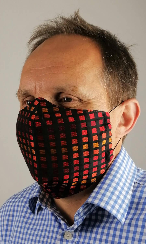 Unisex Seiden Maske schwarz-Karo bunt