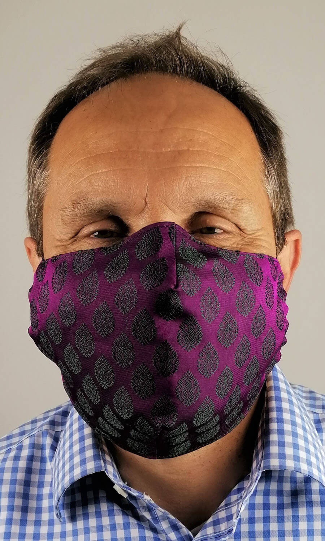 Unisex Seiden Maske lila-dunkelgrün