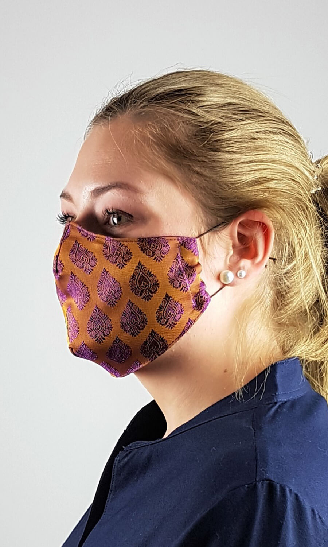 Unisex Seiden Maske ocker - lila