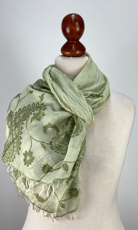 Seiden Schal gecrushed grün