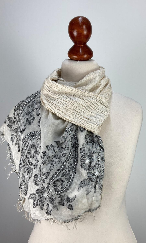 Seiden Schal gecrushed weiß