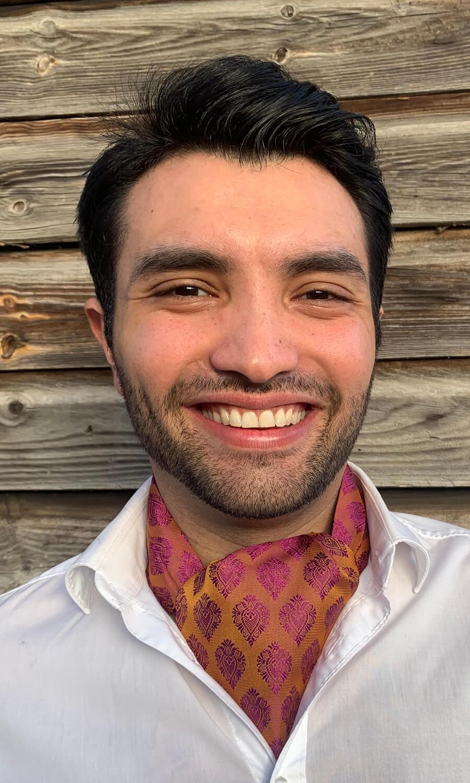 Krawattenschal lila-ocker