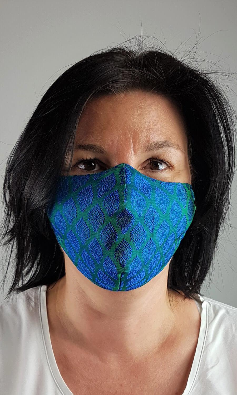 Unisex Seiden Maske smaragdgrün - blau