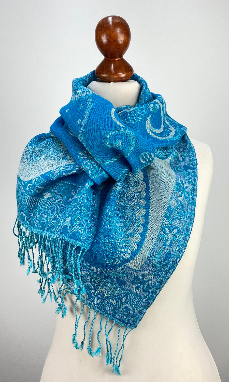 """Jamawar Schal  """" Blue Flowers"""""""