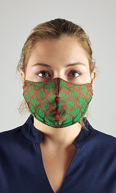 Unisex Seiden Maske rot-grün